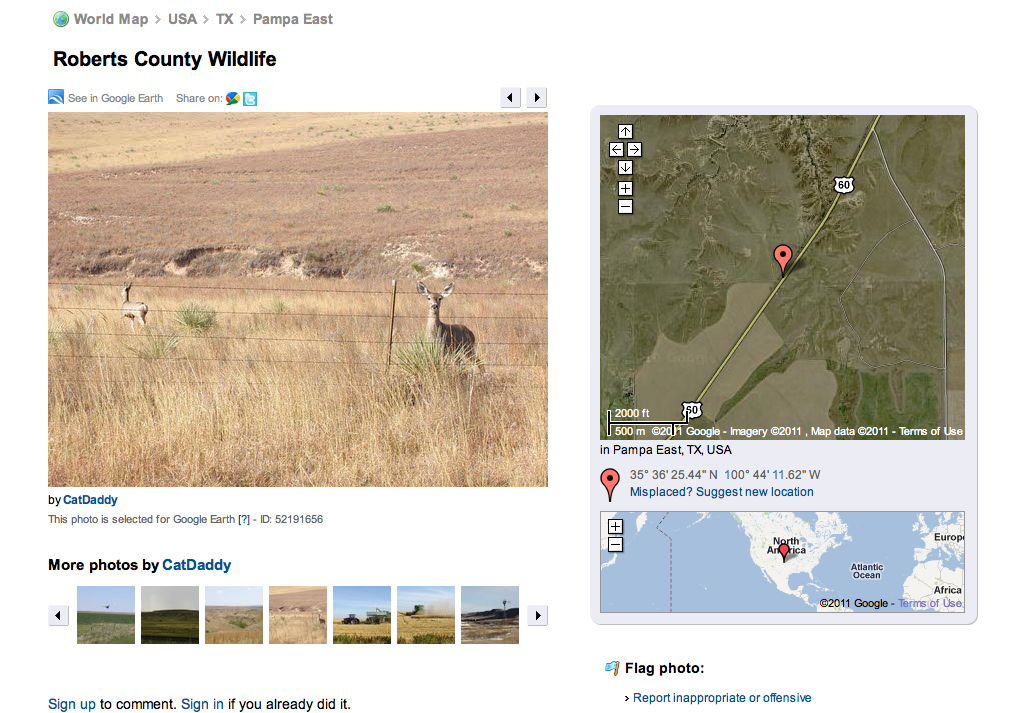 Roberts County Wildlife, an embedded link in the customized Google Earth