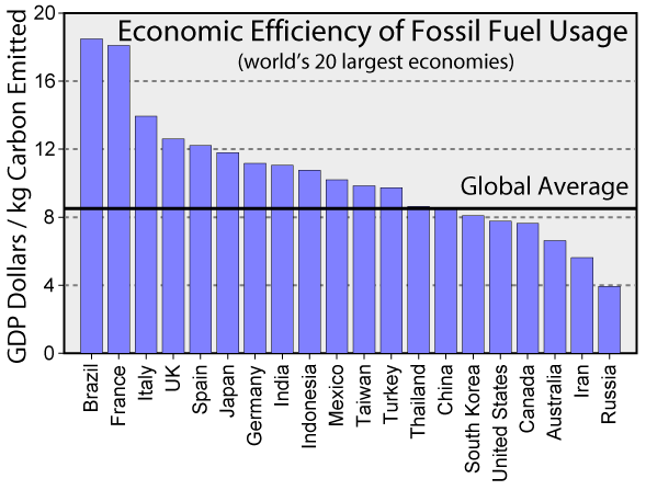 Economic Efficiency of Fossil Fuel Usage